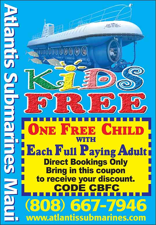 FREE Maui Coupon Book discount coupon with Atlantis Submarines Maui
